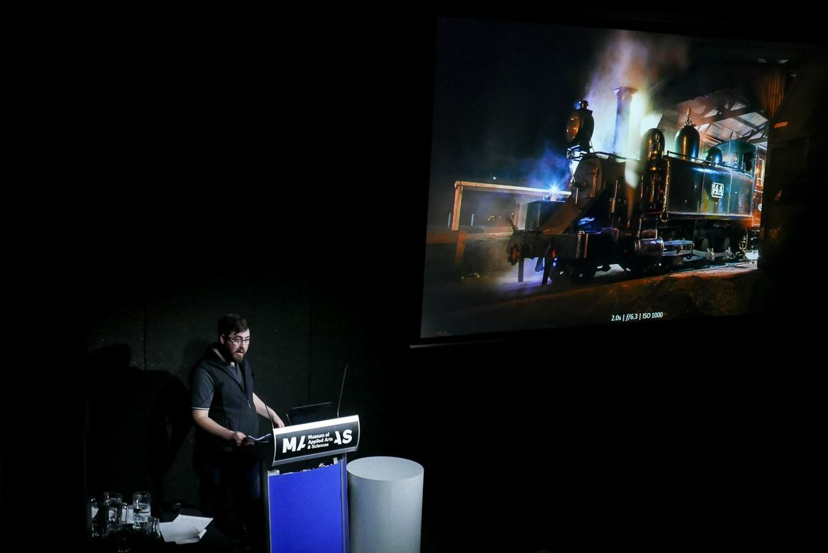 A photo of myself presenting at the Railway Photography Forum